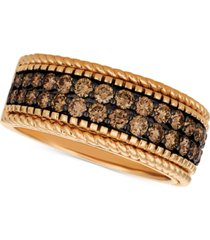 le vian chocolatier chocolate diamond wide band (1-1/2 ct. t.w.) in 14k rose gold