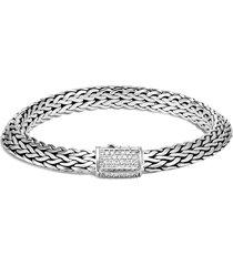 'classic chain tiga' diamond silver large bracelet
