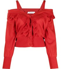 philosophy di lorenzo serafini off-shoulder linen-blend cardigan - red
