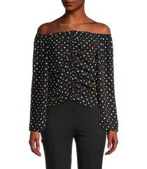 patrizia luca women's dot-print off-the-shoulder top - black - size m