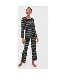 pijama hope maya listrado renda preto/cinza