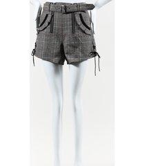 self portrait check double zip gray wool shorts gray sz: s