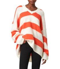 women's allsaints lou stripe v-neck sweater, size large - white
