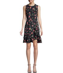 michael kors women's sleeveless floral ruffled sheath dress - black rose - size 8