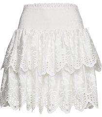 tiered broderie anglaise skirt kort kjol vit designers, remix