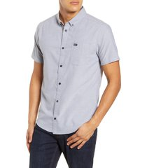 rvca that'll do solid short sleeve button-down shirt, size medium in pavement at nordstrom