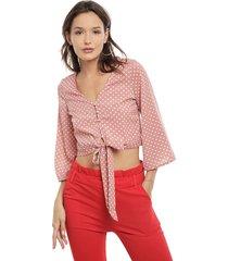 blusa nrg lunares rosa - calce holgado