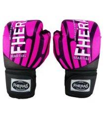 luva boxe muay thai fheras new top elite rosa 04 oz .