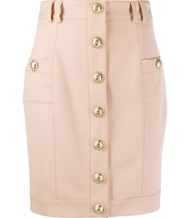 balmain embossed buttons fitted skirt - neutrals
