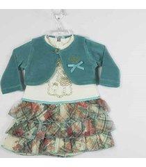 vestido fikaben estampado com bolero manga longa plush