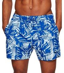 boss men's abstract-print swim shorts