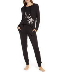 women's flora nikrooz hooded pajamas, size x-small - black