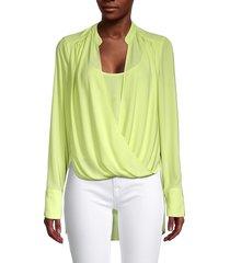 bcbgmaxazria women's jaklyn draped-front blouse - citron - size s