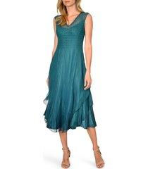 women's komarov tiered hem midi dress