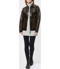 rains women's ltd boxy jacket - glossy brown - m-l - brown