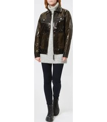 rains women's ltd boxy jacket - glossy brown - s-m - brown