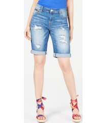 inc international concepts curvy-fit ripped bermuda shorts, created for macy's