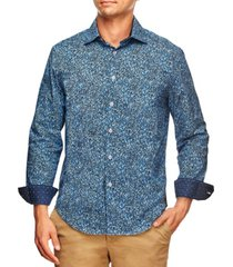 tallia men's slim fit liberty floral print long sleeve shirt and a free face mask