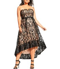 plus size women's city chic embroidered attraction high/low cocktail dress, size small - black