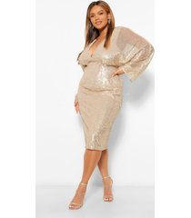 plus sequin batwing sleeve midi dress, gold