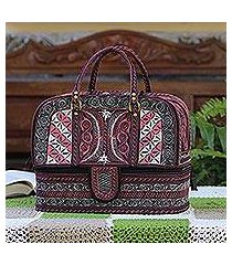 cotton travel bag, 'carnation crescents' (indonesia)