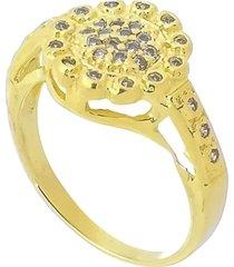 anel flor trabalhado em zircônia 3rs semijoias dourado - kanui