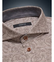 desoto luxury line heren overhemd tan paisley cutaway jersey slim fit