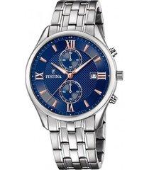 reloj f6854/6 retro plateado festina