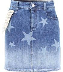 stella mccartney faded denim mini skirt