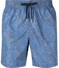 corneliani geometric drawstring swim shorts - blue