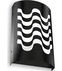 arandela em aço bivolt reta copacabana preta 6000k luz branca