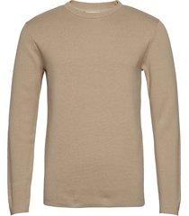 peer stickad tröja m. rund krage beige minimum