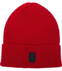 marcelo burlon county of milan cross ribbed-knit beanie - red