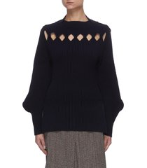 cut-out detail curved hem sweater