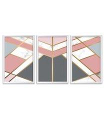conjunto kit 3 quadro oppen house s 60x120cm escandinavo visby com vidro e moldura branca      quadro oppen house s decorativos
