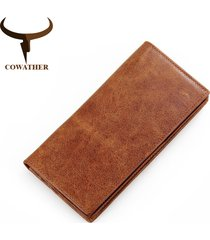 genuine cow leather long mens wallet for men vintage good male purse