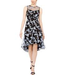 taylor illusion-yoke embroidered a-line dress