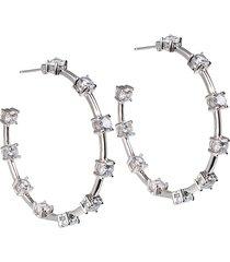 cz by kenneth jay lane women's cubic zirconia station hoop earrings