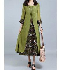 vintage abito in 2 pezzi finti con stampa floreale a 3/4 maniche