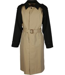 alexander mcqueen beige and black wool trench coat