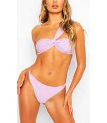 gedraaide bandeau bikini met eén blote schouder, lila
