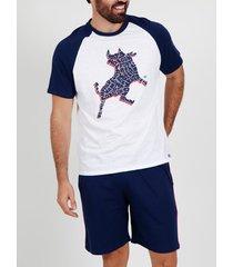 pyjama's / nachthemden admas for men pyjama kort t-shirt nice bull admas