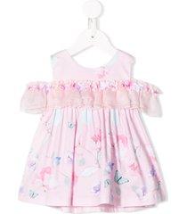 lapin house ruffled drop sleeve dress - pink