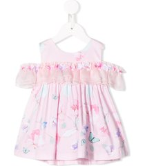 lapin house ruffled drop sleeve dress - pink