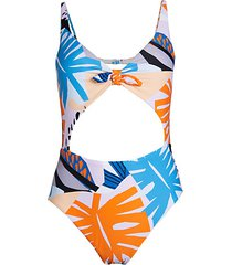 abstract tropical-print one-piece swimsuit