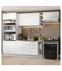 cozinha completa madesa stella 290002 com armário e balcão branco cor:branco