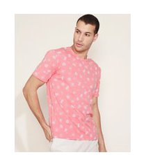 camiseta masculina estampada manga curta gola careca coral