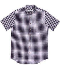 camisa casual manga corta a cuadros slim fit para hombre 93428
