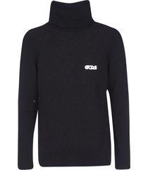 gcds high-neck logo embroidered pullover