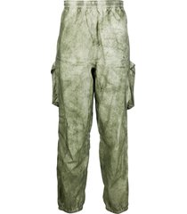 stone island tie-dye print trousers - green